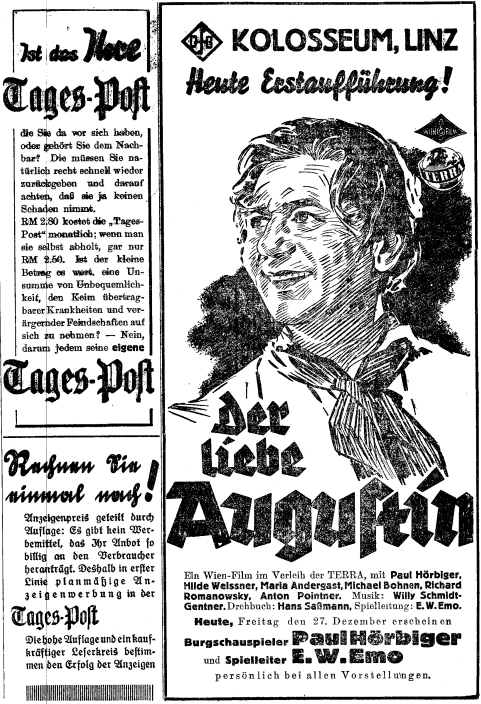 Inzerát (1940) filmové premiéry snímku, jehož byl scénáristou