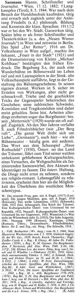 Jeho obsáhlé heslo v Rakouském biografickém lexikonu