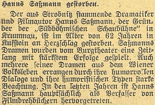 Zpráva o jeho úmrtí na stránkách českobudějovického německéholistu