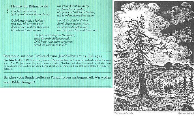 Báseň otištěná v časopise Hoam! s grafikou Waltera Grössla