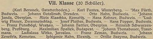Mezi žáky septimy českobudějovického německého gymnázia ve školním roce 1919/20