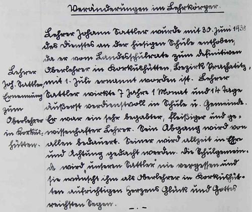 Takto zapsal Franz Plach Sattlerův odchod z Hůrky do Korkusovy Huti v roce 1938