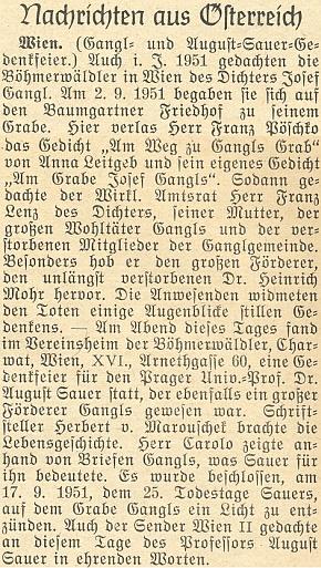 Zpráva z roku 1951 o uctění Sauerových zásluh o ocenění díla Josefa Gangla vídeňskými německými krajany zeŠumavy - jmenován je mezi Franz Pöschko, Franz Lenz, Armin Carolo a Herbert von Marouschek