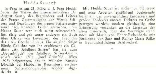 """Zpráva o pražském skonu jeho ženy připomíná, že je i autorkou básně """"An Adalbert Stifter"""", přetištěné ve Stifterově monografii od Wilhelma Kosche (1879-1960)"""