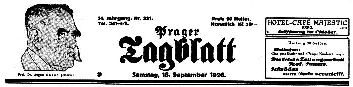 Záhlaví listu Prager Tagblatt se zprávou o jeho úmrtí ...