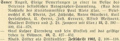 Rejstřík (1927) k obsahu 1.-60. ročníku věhlasného časopisu Mitteilungen des Vereins für Geschichte der Deutschen in Böhmen (MVGDB) uvádí 3 jeho příspěvky a všechny se týkají i autorů, zastoupených na stránkách Kohoutího kříže, ať už je to Karl Herlossohn, Alfred Meissner, hrabě Kaspar Sternberg či zejména Adalbert Stifter