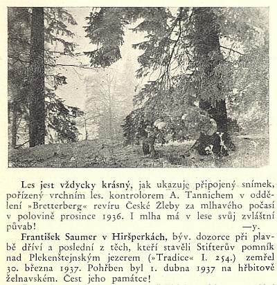 Zpráva o jeho úmrtí vedle snímku Antona Tannicha a textu se šifrou Nikendeyovou (otec autora zastoupeného také vKohoutím kříži)