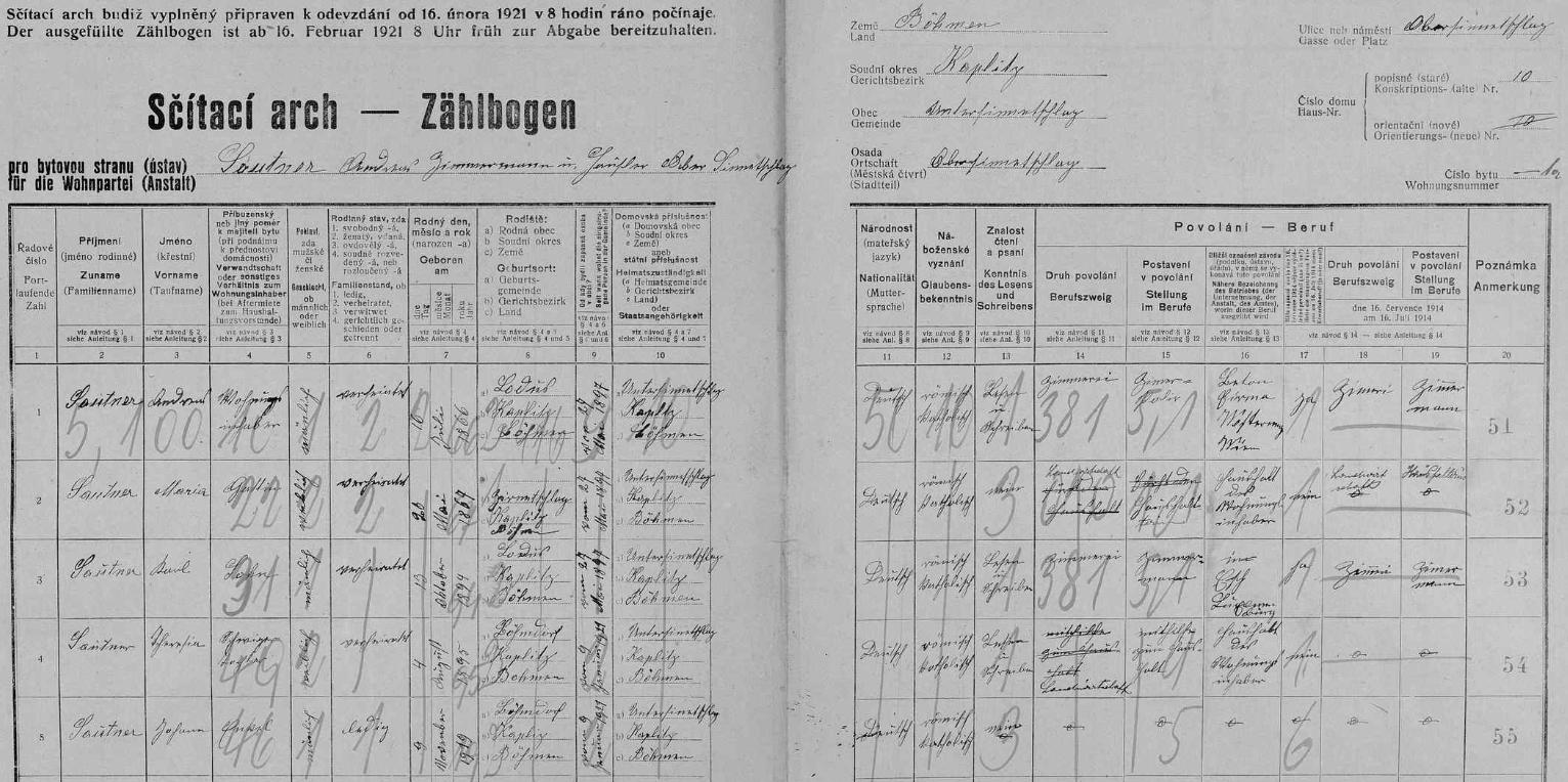 Arch sčítání lidu 1921 pro stavení čp. 10 v Horním Příbraní (Ober Sinnetschlag), osadě obce Dolní Příbraní (Unter Sinnetschlag), ve kterém žil tesař Andreas Sautner (*16. července 1866 v Budákově /Budageln/, †7. května 1939 v Horním Příbraní) se svou ženou Marií (*26. května 1867 v Bělé /Zirnetschlag/), synem Karlem (*13. října 1894 v Budákově), snachou Theresií (*4. srpna 1895 v Mikulově /Böhmdorf/) a vnukem Johannem, narozeným 9. listopadu roku 1919 rovněž v Mikulově