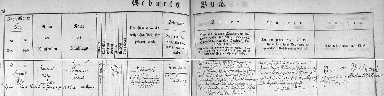Záznam cetvinské matriky o narození matčině ve dnes zaniklém Mikulově, kde na stavení čp. 2 hospodařil její otec Leopold Scherb (stejně jako předtím její děd z otcovy strany Anton Scherb se svou ženou Marií Annou, roz. Wildbergerovou z hornorakouského Mardetschlagu, okr. Freistadt) s její matkou Agnes, dcerou rolníka v Tiché (Oppolz) čp. 20 Gregora Breitenbergera a Theresie, roz. Glaserové z Mikulova čp. 22 - pozdější přípis nás informuje i o její svatbě s Karlem Sautnerem v Cetvinách 20. května roku 1919