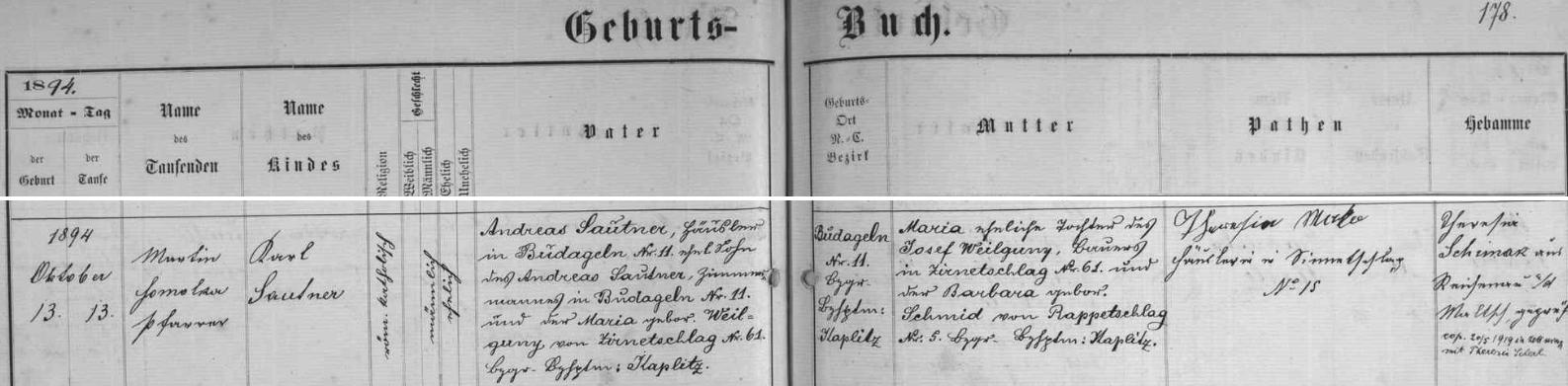 Záznam křestní matriky farní obce Rychnov nad Malší o narození otcově 13. října roku 1894 (ještě téhož dne byl v rychnovském kostele sv. Ondřeje i pokřtěn farářem Martinem Homolkou) v Budákově (německy Budageln, dnes část obce Dolní Dvořiště) čp. 11, kde tehdy žil i jeho otec Andreas (a předtím i děd a otcův jmenovec Andreas Sautner se svou ženou Marií, roz. Weilgunyovou z Bělé /Ziernetschlag/ čp. 61) s manželkou  a jmenovkyní své matky Marií, dcerou Josefa Weilgunyho z Bělé čp. 61 a Barbary, roz. Schmidové z Rapotic (Rappetschlag) čp. 5