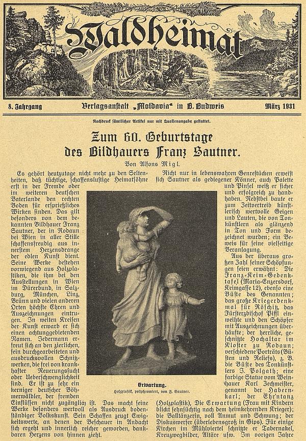 Úvod článku Alfonse Migla k jeho šedesátinám v časopise Waldheimat