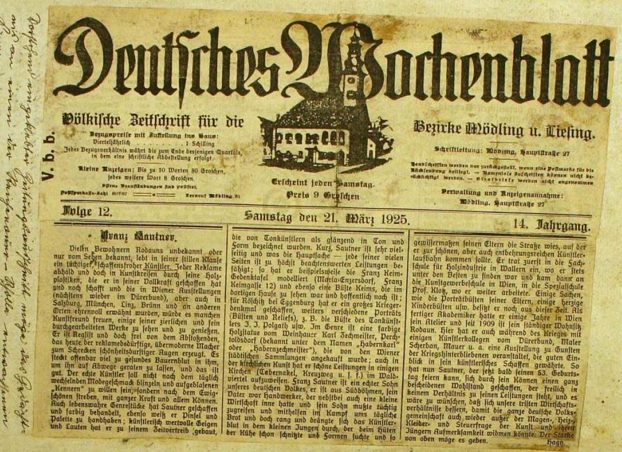 Výstřižek z rakouských novin s článkem o něm, vlepený do kroniky rodné obce