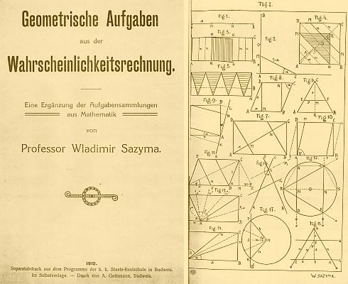 Titulní list (1912) jím signované obrazové přílohy vlastní práce o geometrických úlohách k počtu pravděpodobnosti
