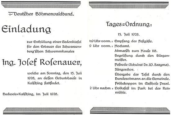 Pozvánka k odhalení pamětní tabule na rodném domě Josefa Rosenauera se Sazymovým slavnostním proslovem v červenci 1928 (viz i Josef Rosenauer)