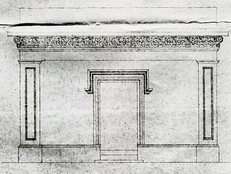 Čelní pohled na fasádu hrobky rodiny Rosenauerů