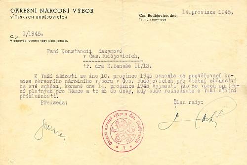 """Podmínečné vynětí paní Sazymové """"ze všech opatření platných pro Němce"""" z prosince 1945"""