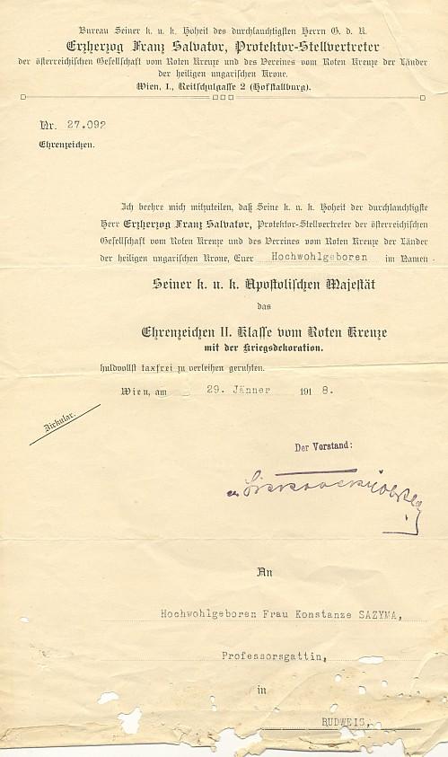 Ocenění paní Sazymové za práci v Červeném kříži z ledna 1918
