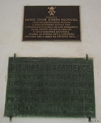 Pamětní desky na českobudějovické biskupské rezidenci