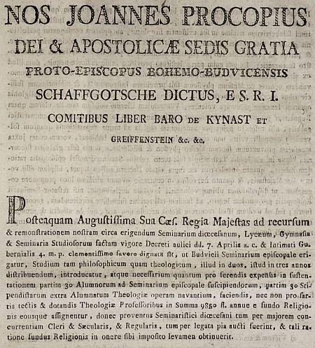 Titul a úvodní odstavec jeho pastýřského listu z roku 1803