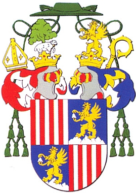Jeho osobní znak, představující rodový hraběcí erb, doplněný oatributy biskupského úřadu...