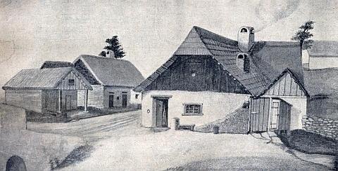 Thugutů domek (Thugut-Häusl) v Polné na Šumavě na starém zobrazení - všechna stavení byla v roce 1891 stržena kvůli stavbě železnice