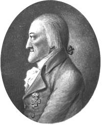 Franz Maria baron von Thugut na kresbě tuší, jejímž autorem je J. A. Ecker