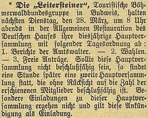 """Dvě zprávy o výroční schůzi spolku """"Leitersteiner"""", kde se objevuje jeho jméno"""