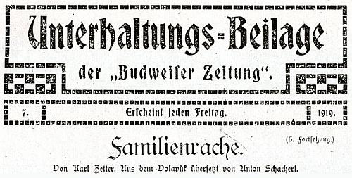 """Záhlaví jednoho pokračování zábavné přílohy listu """"Budweiser Zeitung"""", jehož text Schacherl přeložil z mezinárodního jazyka volapük"""