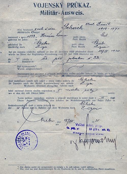 Vojenský průkaz, vystavený v Chebu roku 1921 při odchodu do zálohy