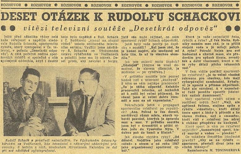 """Syn Rudolf zvítězil v roce 1961 v populární televizní soutěži """"Desetkrát odpověz"""""""