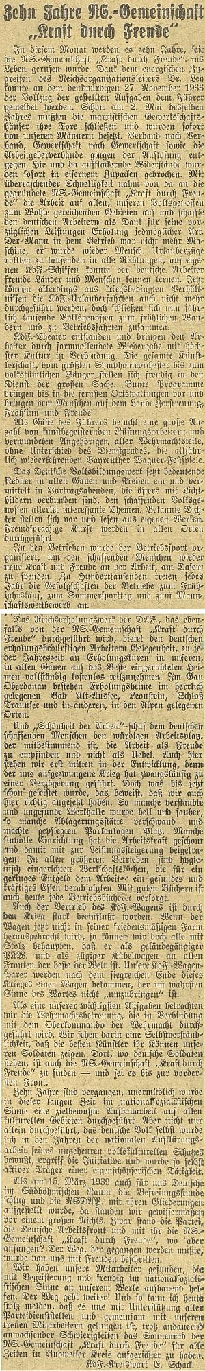 """Jeho článek k 10. výročí """"Kraft durch Freude"""" 1933-1943"""