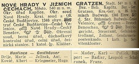 Hostince v Nových Hradech k roku 1931 podle abecedy