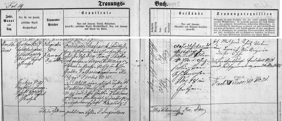 Záznam o dědečkově svatbě v červnu roku 1885 v Nových Hradech uvádí ho už jako místního hostinského. po němž syn Franz živnost zdědil