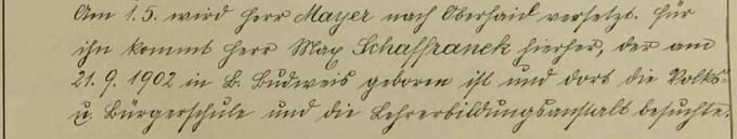I s datem narození a údaji o dosavadním vzdělání je zaznamenán ve školní kronice příchod do školy v Rychnůvku v květnu roku 1927