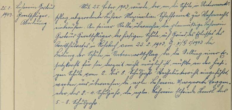 Odvelen k wehrmachtu byl podle školní kroniky odvelen 25. února 1943 z Dolního Markschlagu