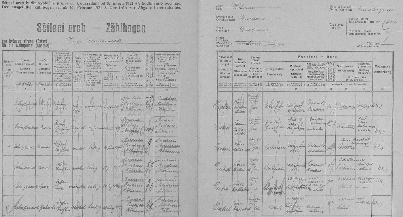 Jeho otec Hugo Schaffranek, narozený dne 21. února roku 1871 v Loučeni (Lautschin), okr. Jičín (dnes okr. Nymburk), vrchní poštovní oficiál v Českých Budějovicích, kde se narodily i všechny jeho děti, tu v domě čp. 504 na Doudlebské (dnes Dukelské) ulici zaznamenal na arch sčítání lidu z roku 1921 vlastní rukou data svá, své ženy Anny, narozené 9. června 1867 v Jistebnici, okr. Tábor, svých tří dcer, tj. Anny, narozené 9. června 1867, Marie, narozené 23. června 1901, a Gabriele, narozené 19. března 1908 (ta chodila v roce 1921 ještě do měšťanky, obě starší dcery byly zaměstnány u pošty), jakož i syna Maxe, narozeného 21. září roku 1902 a studujícího v té době na německém učitelském ústavu zde v Českých Budějovicích