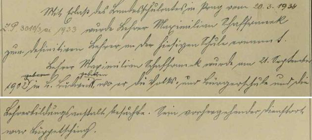 """V roce 1934 byl jmenován """"definitivním"""" učitelem v Rychnůvku, kam přišel ze školy ve Slupečné"""