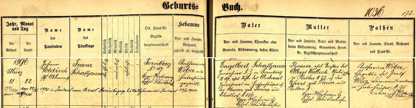 Záznam prášilské křestní matriky o jeho narození s dodatečným přípisem o svatbě ve Zwieselu
