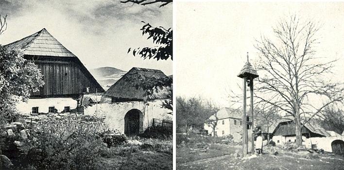 """Tak řečený """"Toischn-Hof"""" v někdejším Maloníně a zvonička před ním"""