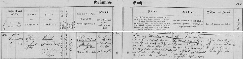 Záznam o narození otcově v křestní matrice farní obce Horní Stropnice