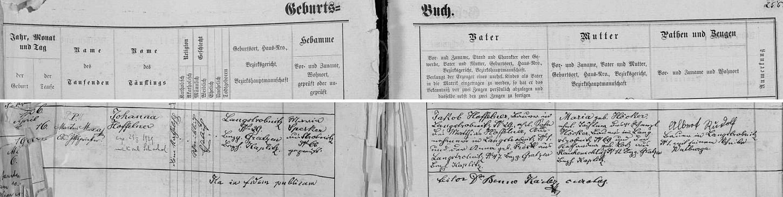 Záznam o narození matčině v křestní matrice farní obce Horní Stropnice