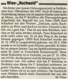 Nekrolog na stránkách rakouského krajanského listu