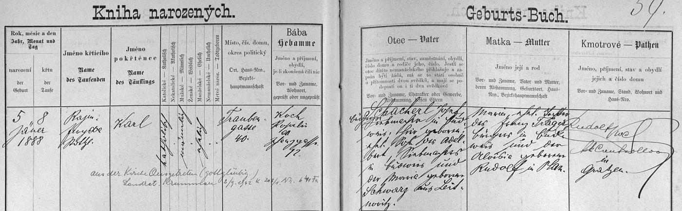 """Záznam českobudějovické křestní matriky o jeho narození s pozdějším přípisem o jeho vystoupení z církve v """"Krummau an der Moldau"""" roku 1942"""