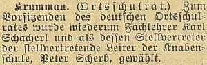 Zpráva o jeho zvolení předsedou českokrumlovské školní rady v roce 1937, jeho zástupcem se stal Peter Scherb