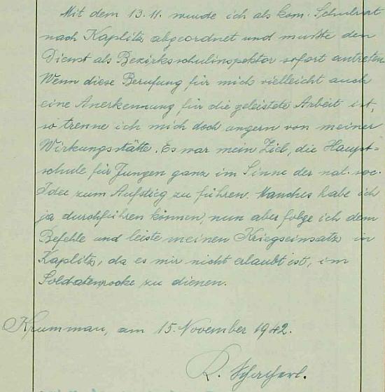 """Zpráva o odchodu do Kaplice v listopadu válečného roku 1942 z """"Krummau an der Moldau"""" je provázena i jeho podpisem"""