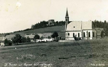 Kostel sv. Tomáše s Vítkovým Kamenem na pohlednici Josefa Seidela