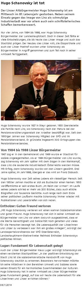 Nekrolog na webu rakouského rozhlasu a televize