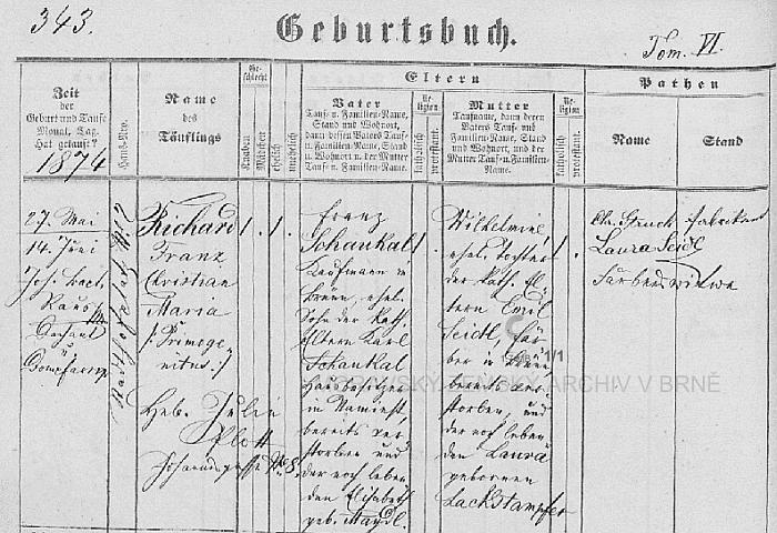 """Německý záznam v brněnské křestní matrice svědčí o jeho narození 27. května roku 1874 a křtu až 14. června """"nadómě"""" u sv. Petra a Pavla s poznámkou """"Primogenitus"""", tj. """"prvorozený"""" - otec Franz Schaukal, brněnský obchodník, byl synem majitele domu v Náměšti (Namiest) Karla Schaukala a jeho ženy Elisabeth, roz. Maydlové, novorozencova matka Wilhelmine byla dcerou brněnského barvíře Emila Seidla a Laury, roz. Lackstampferové, která je tu podepsána i jako kmotra dítěte"""