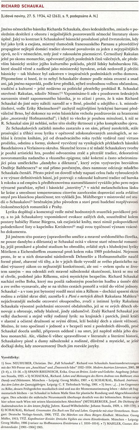 Nespravedlivé zapomenutí jeho básnického zjevu tu obsáhle komentuje v Lidových novinách Arne Novák