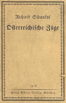 Obálka knihy (1918) s kapitolou oStifterovi vydané v Mnichově (nakladatelství Georg Müller)